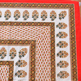Gold & Red Print King Size Cotton Double Bedsheet