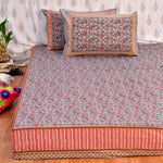 Grey King Size Cotton Double Bedsheet Set