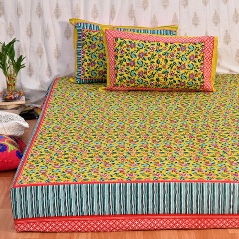 Lime Yellow King Size Cotton Double Bedsheet