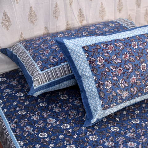 Blue King Size Cotton Double Bedsheet Set
