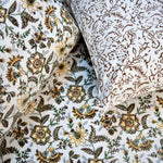 Block Print Yellow Garden King Size Cotton Double Bedsheet