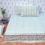 Block Print Green Flowers King Size Cotton Double Bedsheet
