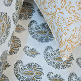 Block Print Yellow Paisley Size Cotton Double Bedsheet