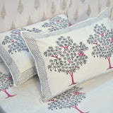 Block Print Grey Tree King Size Cotton Double Bedsheet