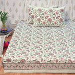 Block Print Pink Garden King Size Cotton Double Bedsheet