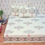 Block Print Grey Mangos King Size Cotton Double Bedsheet