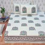 Block Print Pink Bouquet King Size Cotton Double Bedsheet