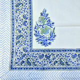 Block Print Blue Leaf King Size Cotton Double Bedsheet