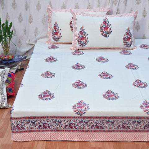 Block Print Pink Leaf King Size Cotton Double Bedsheet