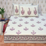 Block Print Pink Jhumka King Size Cotton Double Bedsheet