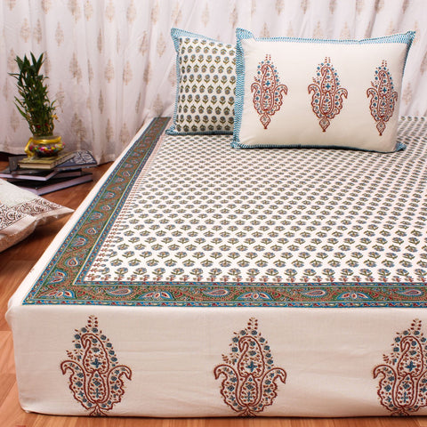 Blue & Gold Hand Block Print Cotton Double Bedsheet