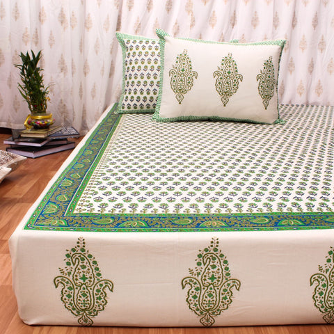 Green & Gold Hand Block Print Cotton Double Bedsheet