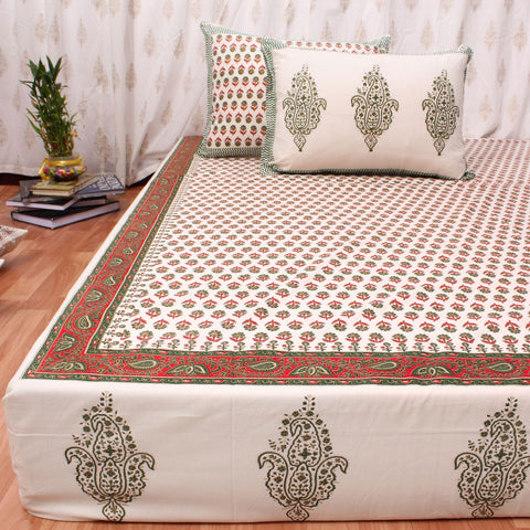 Red & Gold Hand Block Print Cotton Double Bedsheet