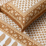 Brown & Gold Print King Size Cotton Double Bedsheet