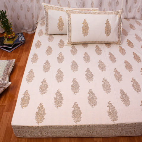 Gold Motifs King Size Cotton Double Bedsheet