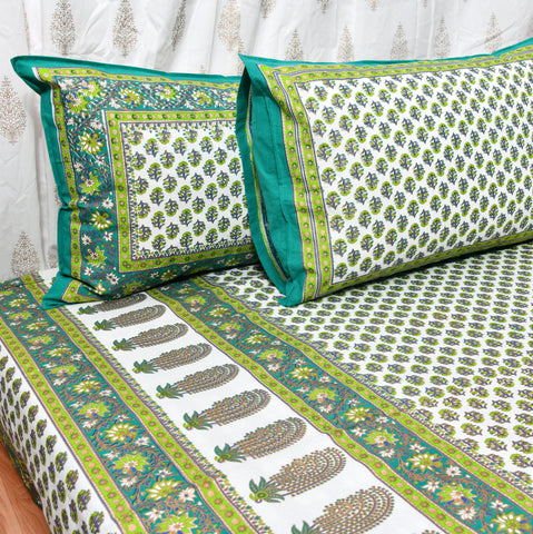 Green & Gold Print King Size Cotton Double Bedsheet