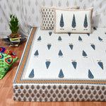 Blue Tree Motifs Cotton King Size Double Bed Sheet