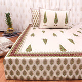 Green Tree Motifs Cotton King Size Double Bed Sheet