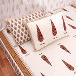Maroon Tree Motifs Cotton King Size Double Bed Sheet