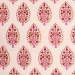 Pink Tree Motifs Cotton King Size Double Bed Sheet