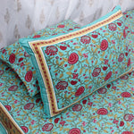 Aqua Floral King Size Cotton Double Bedsheet