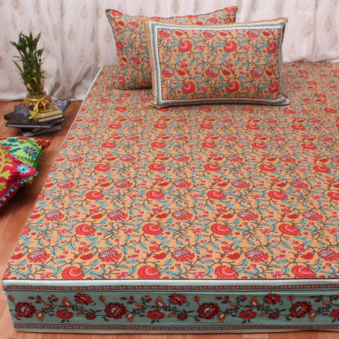Brown Floral King Size Cotton Double Bedsheet