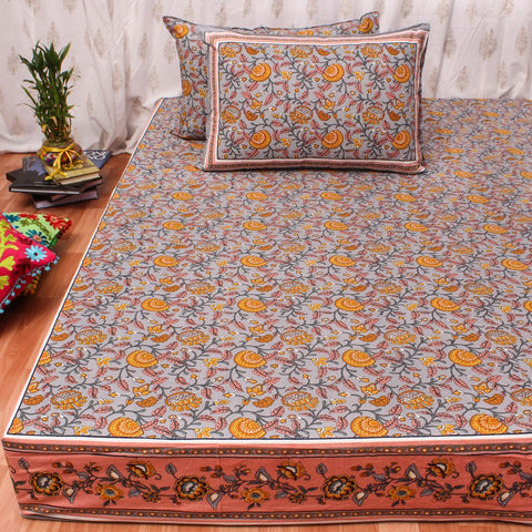 Grey Floral King Size Cotton Double Bedsheet