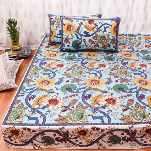 Blue King Size Cotton Double Bedsheet