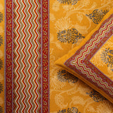 King Size Cotton Double Bedsheet Yellow Color