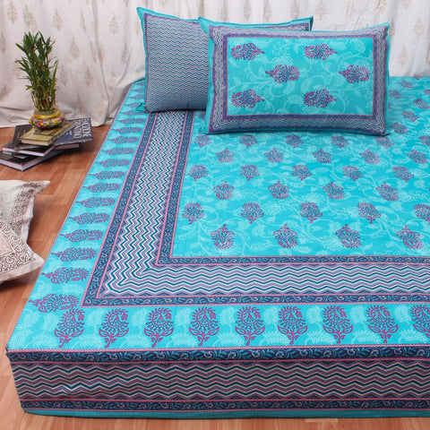 King Size Cotton Double Bedsheet Blue Color