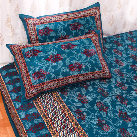 King Size Cotton Double Bedsheet Navy Blue Color