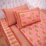 King Size Cotton Double Bedsheet Pink Color
