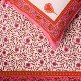Pink Floral Border King Size Cotton Double Bedsheet