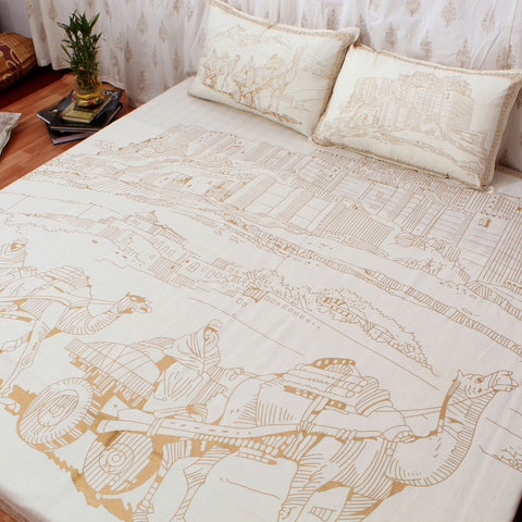 Golden printing Cotton Double Bedsheet