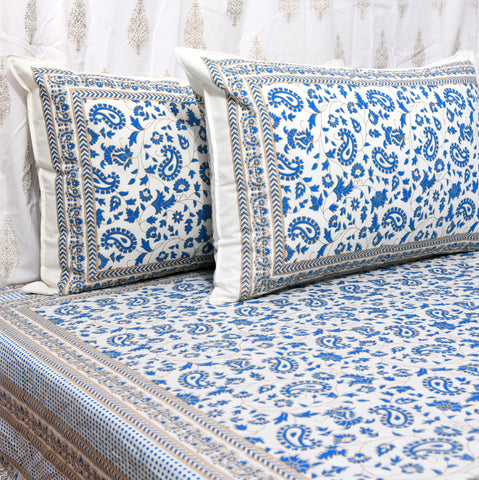 Blue & Gold Print Cotton Double Bedsheet
