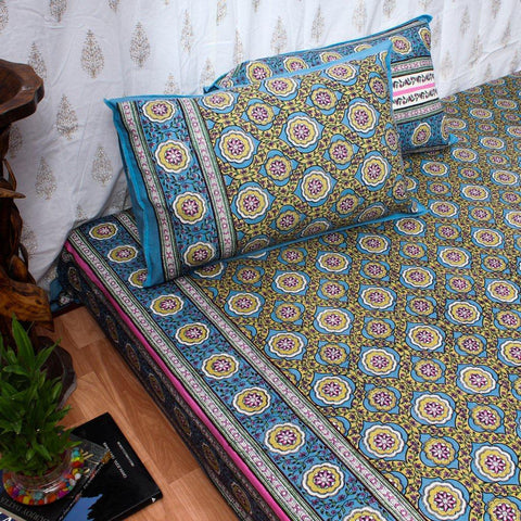 Super King Size Blue Lotus Cotton Double Bedsheet