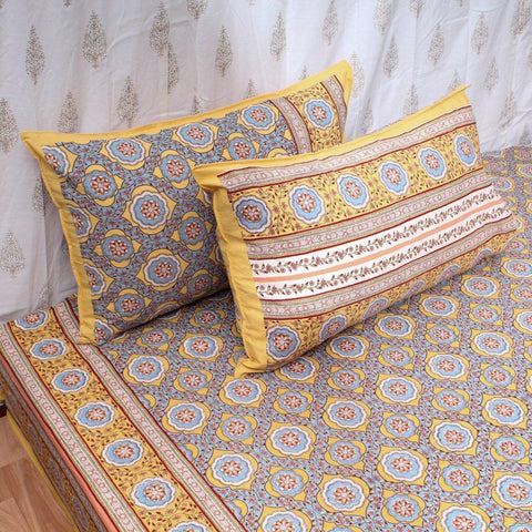 Super King Size Yellow Lotus Cotton Double Bedsheet