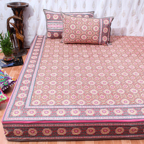 Super King Size Clay Lotus Cotton Double Bedsheet