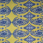 Hand Block Print Yellow Paisley Motifs Large King Size Cotton Double Bedsheet (100x108 inch)
