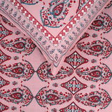 Hand Block Print Pink Paisley Motifs Large King Size Cotton Double Bedsheet (100x108 inch)