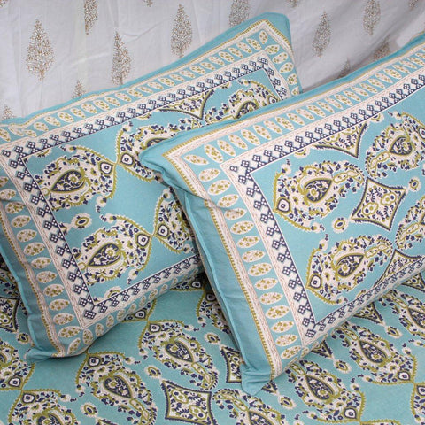 Hand Block Print Blue Paisley Motifs Large King Size Cotton Double Bedsheet (100x108 inch)