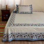 Brown Floral Large King Size Cotton Double Bedsheet