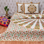 Gold Mandala Quilted Double Bed Cover & Bed Sheet Set