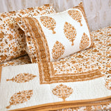 Gold Floral Quilted Double Bed Cover & Bed Sheet Set