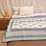 Silver & Blue Cotton Double Bed Quilted Bed Cover (Comforter)