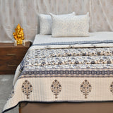 Gold & Blue Cotton Double Bed Quilted Bed Cover (Comforter)