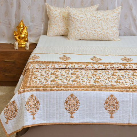 Gold & Brown Cotton Double Bed Quilted Bed Cover (Comforter)