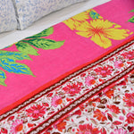 Floral Red Cotton Double Bed Quilted Bed Cover (Comforter)