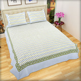Green Pansy Flowers Large King Size Cotton Double Bed Sheet