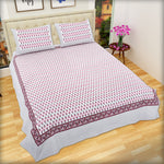 Pink Pansy Flowers Large King Size Cotton Double Bed Sheet